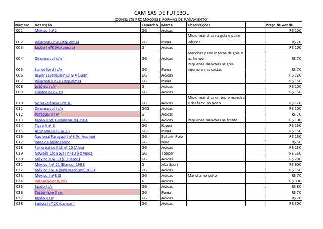 CAMISAS DE FUTEBOL (CONSULTE PROMOÇÕES E FORMAS DE PAGAMENTO) Número Descrição Tamanho Marca Observações Preço de venda ´0...