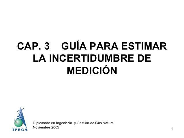 CAP. 3 GUÍA PARA ESTIMAR LA INCERTIDUMBRE DE MEDICIÓN  Diplomado en Ingeniería y Gestión de Gas Natural Noviembre 2005  1
