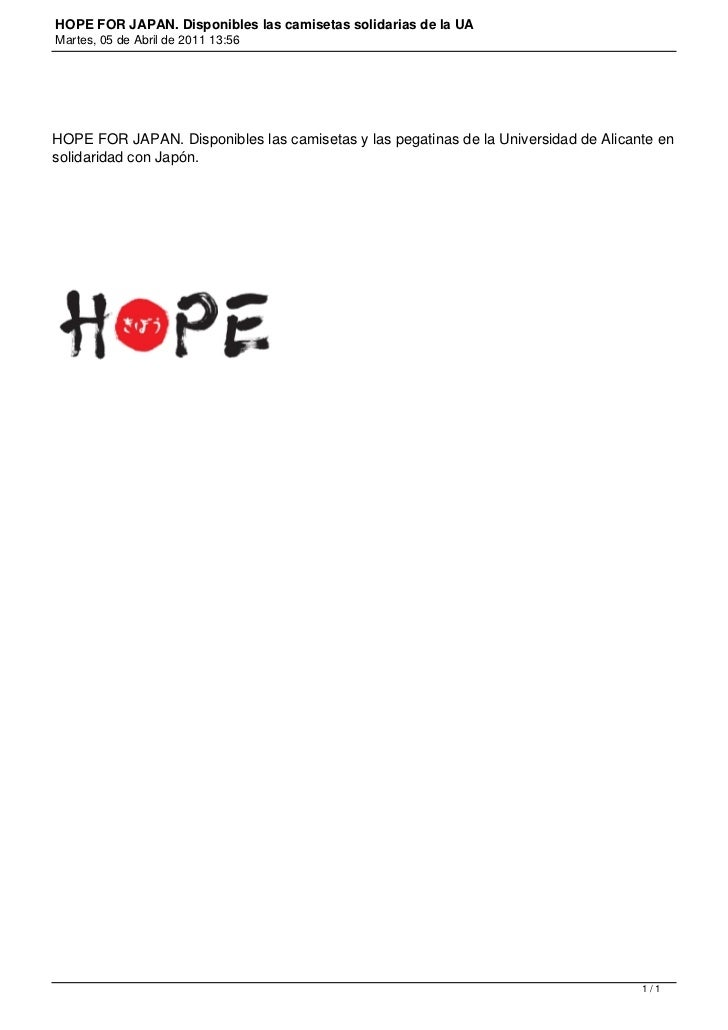 HOPE FOR JAPAN. Disponibles las camisetas solidarias de la UAMartes, 05 de Abril de 2011 13:56HOPE FOR JAPAN. Disponibles ...