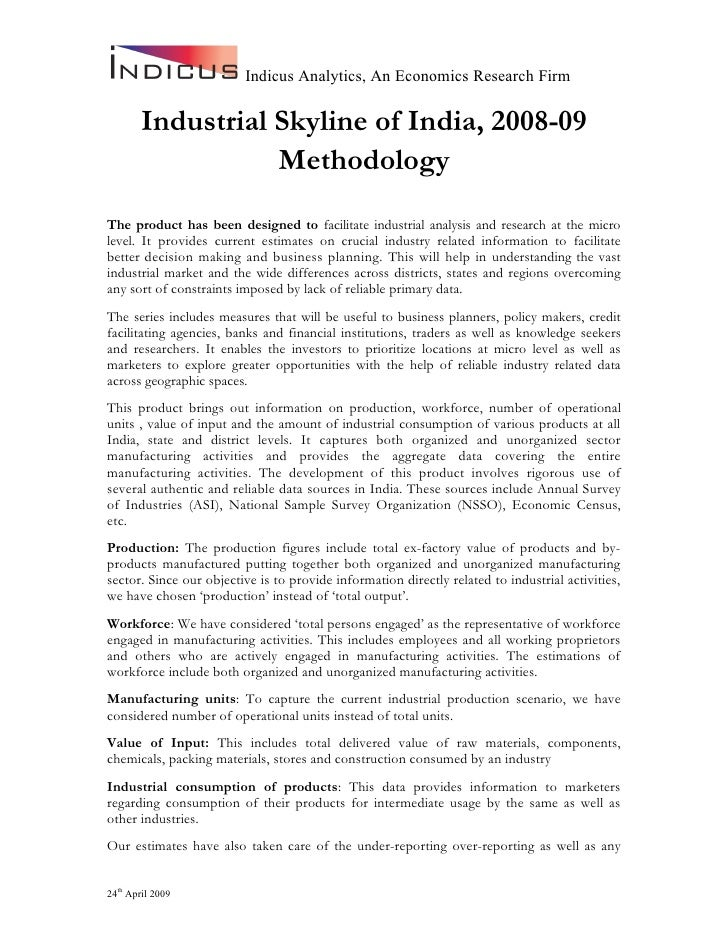 Indicus Analytics, An Economics Research Firm         Industrial Skyline of India, 2008-09                   Methodology T...