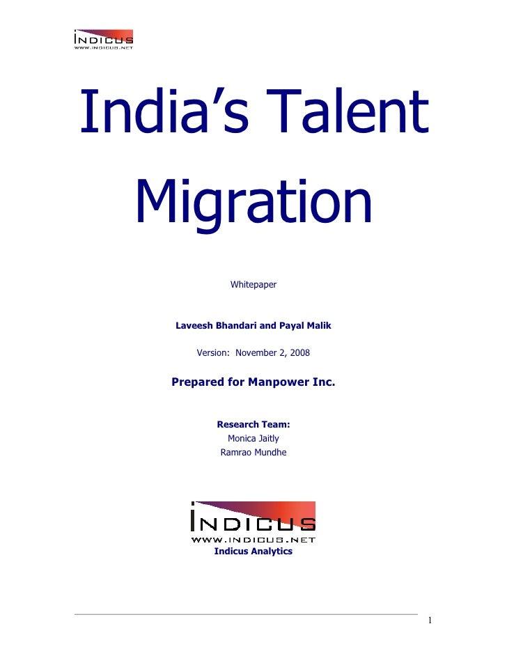 India's Talent   Migration               Whitepaper       Laveesh Bhandari and Payal Malik         Version: November 2, 20...