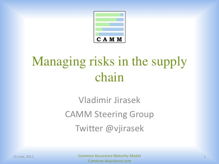 Managing risks in the supply chain<br />14 June, 2011<br />Common Assurance Maturity Model Common-Assurance.com<br />1<br ...