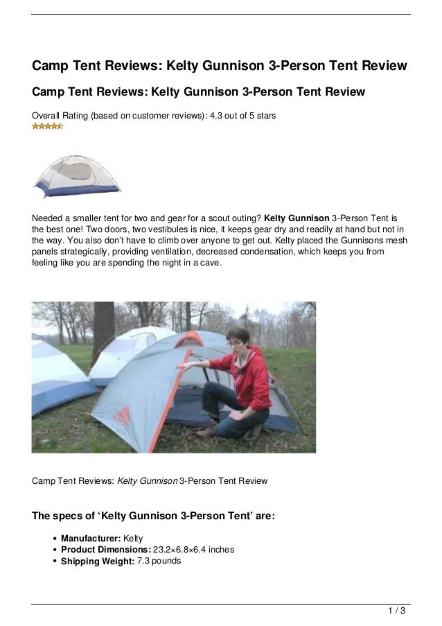 C& Tent Reviews Kelty Gunnison 3-Person Tent ReviewC& Tent Reviews Kelty Gunnison ...  sc 1 st  SlideShare & Camp Tent Reviews: Kelty Gunnison 3-Person Tent Review