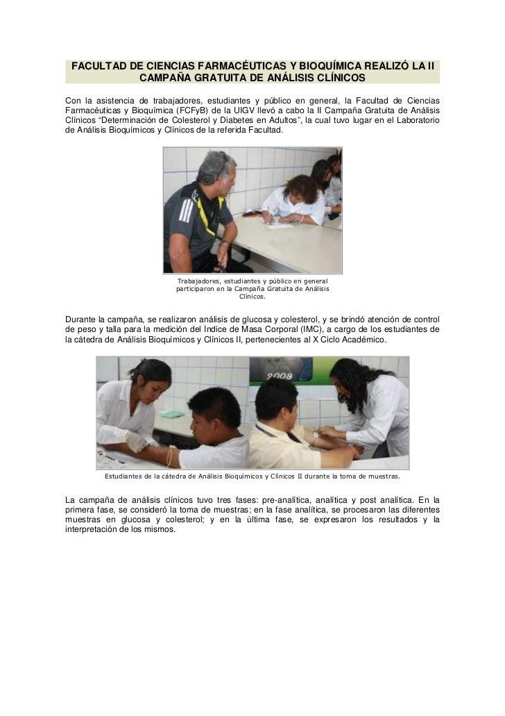 FACULTAD DE CIENCIAS FARMACÉUTICAS Y BIOQUÍMICA REALIZÓ LA II           CAMPAÑA GRATUITA DE ANÁLISIS CLÍNICOSCon la asiste...