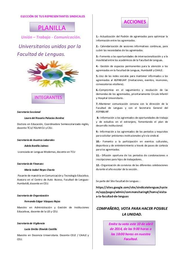 ELECCIÓN DE TUS REPRESENTANTES SINDICALES Unión – Trabajo - Comunicación. Universitarios unidos por la Facultad de Lenguas...