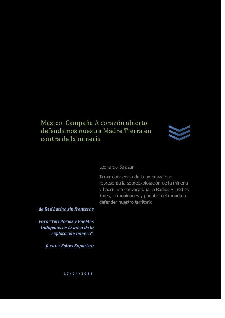 """México: Campaña A corazón abierto defendamos nuestra Madre Tierra en contra de la mineríade Red Latina sin fronterasForo """"..."""