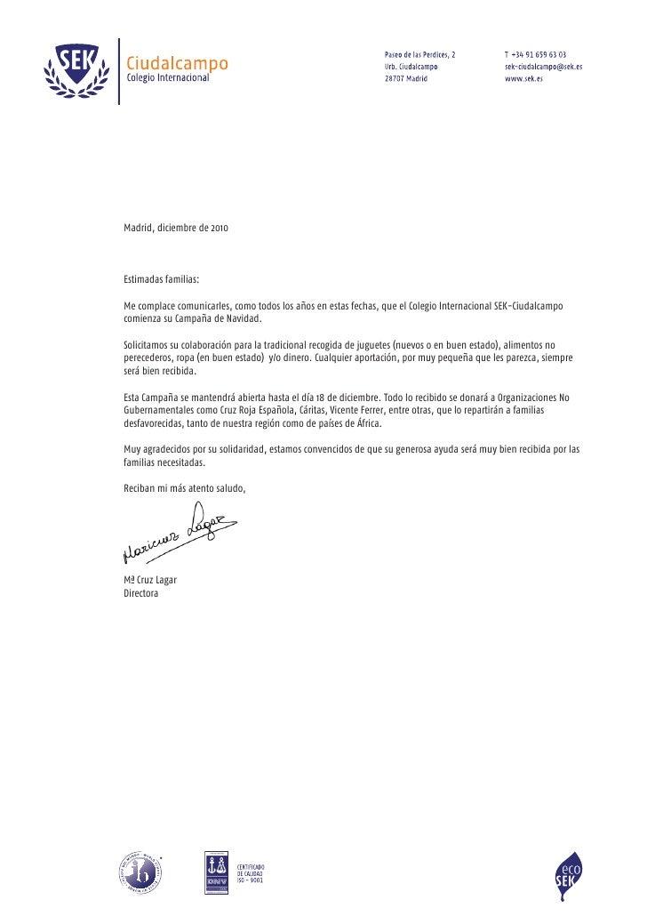 Madrid, diciembre de 2010Estimadas familias:Me complace comunicarles, como todos los años en estas fechas, que el Colegio ...