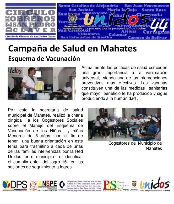 Campaña de Salud en MahatesEsquema de Vacunación                                      Actualmente las políticas de salud c...