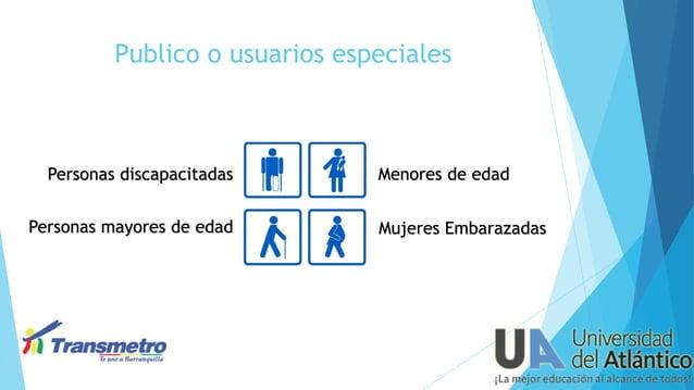 Publico o usuarios especiales  Personas discapacitadas  Personas mayores de edad  Menores de edad Mujeres Embarazadas