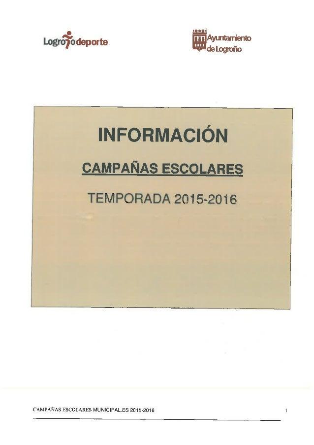EMPQRADA 201 5-2016  CAMPAÑAS ESCOLARES MUN| CIPAL. ES 2015-2016 1