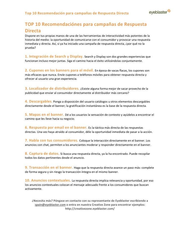 Top 10 Recomendación para campañas de Respuesta Directa  TOP 10 Recomendaciónes para campañas de Respuesta Directa Dispone...