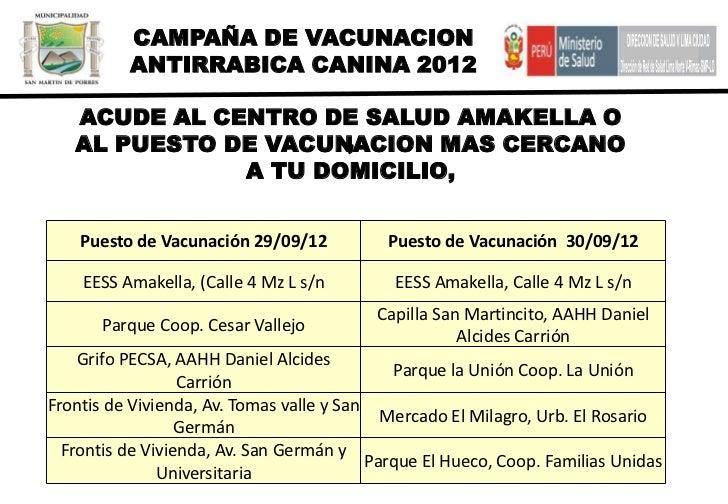 CAMPAÑA DE VACUNACION          ANTIRRABICA CANINA 2012   ACUDE AL CENTRO DE SALUD AMAKELLA O                     ,   AL PU...