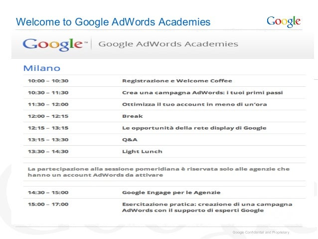 Welcome to Google AdWords Academies                                      Google Confidential and Proprietary