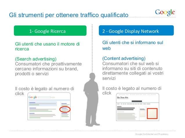 Gli strumenti per ottenere traffico qualificato         1-‐ Google Ricerca    2 -‐ Google Display Network...
