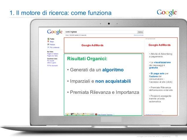1. Il motore di ricerca: come funziona                            Google AdWords                          Google AdWords  ...