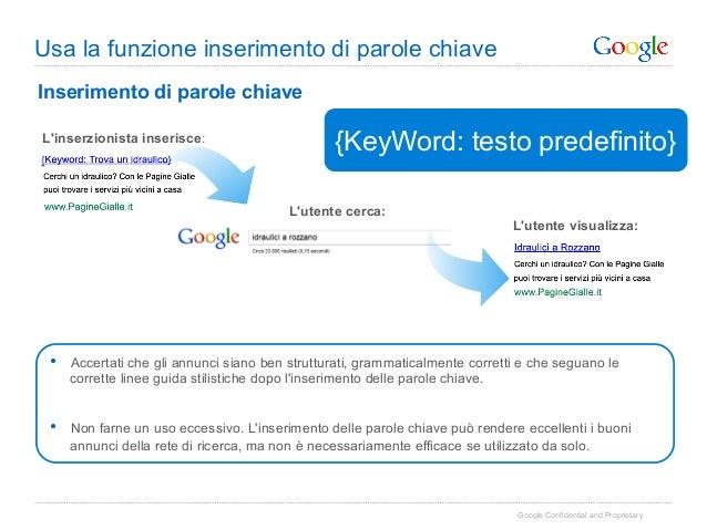 Usa la funzione inserimento di parole chiaveInserimento di parole chiaveLinserzionista inserisce:                         ...