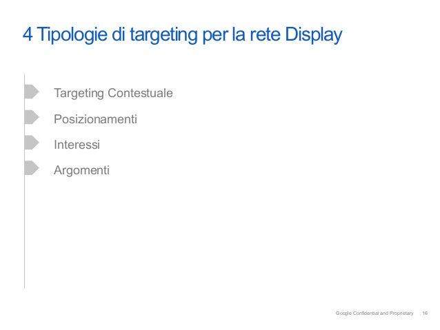 4 Tipologie di targeting per la rete Display    Targeting Contestuale    Posizionamenti    Interessi    Argomenti         ...