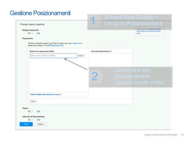 Gestione Posizionamenti                              Scheda Rete Display >                          1   Clicca su Posizion...