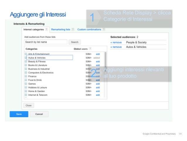 Aggiungere gli Interessi       Scheda Rete Display > clicca                           1   Categorie di Interessi          ...
