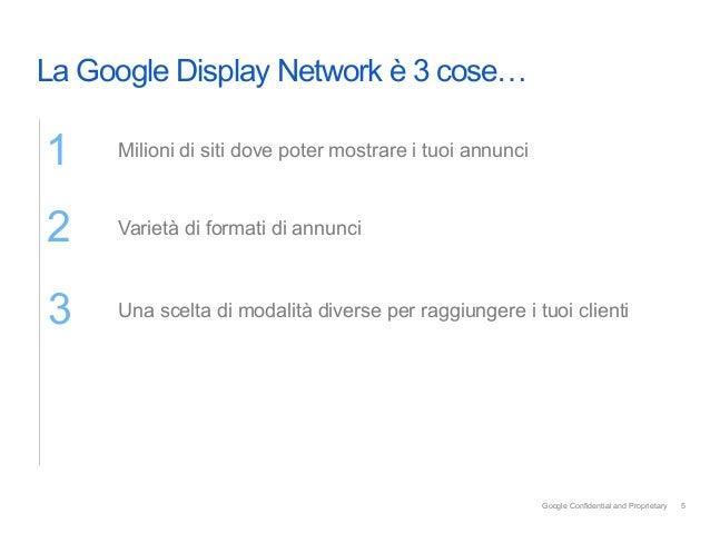 La Google Display Network è 3 cose…1    Milioni di siti dove poter mostrare i tuoi annunci     2        Varietà di forma...