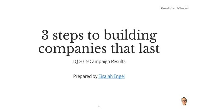 #FounderFriendlyStandard 3 steps to building companies that last 1Q 2019 Campaign Results Prepared by Eisaiah Engel 1