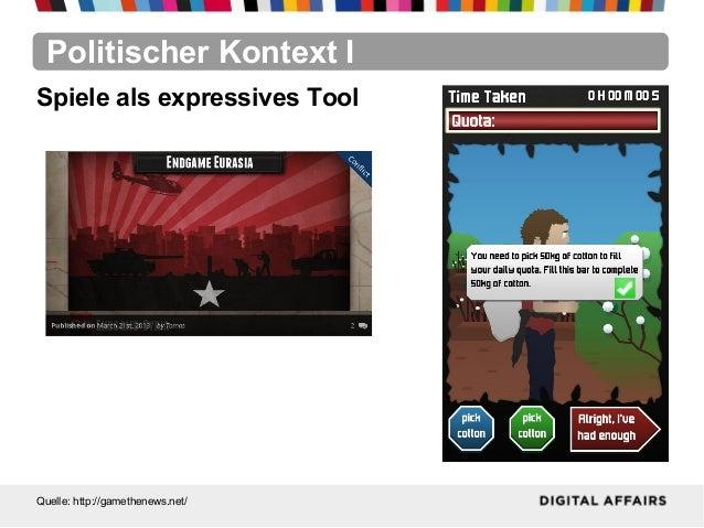 Politischer Kontext IQuelle: http://gamethenews.net/Spiele als expressives Tool