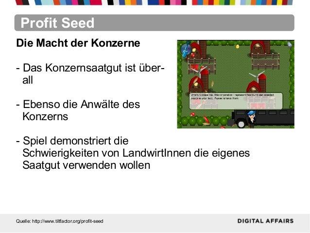 Profit SeedQuelle: http://www.tiltfactor.org/profit-seedDie Macht der Konzerne- Das Konzernsaatgut ist über-all- Ebenso di...