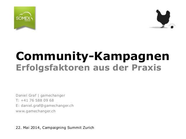 Community-Kampagnen Erfolgsfaktoren aus der Praxis Daniel Graf | gamechanger T: +41 76 588 09 68 E: daniel.graf@gamechange...