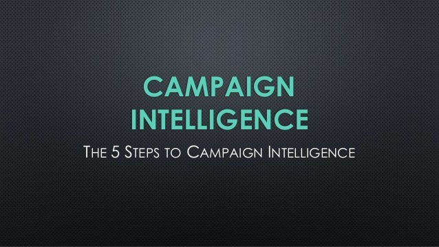 CAMPAIGN INTELLIGENCE THE 5 STEPS TO CAMPAIGN INTELLIGENCE