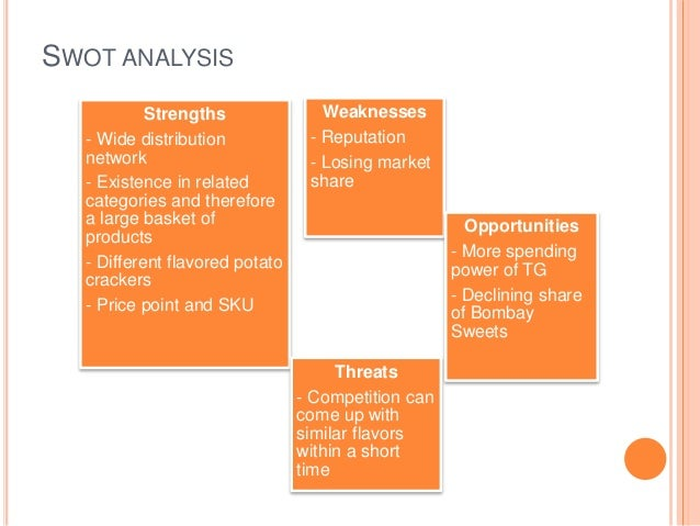 swot analysis potato chip Would you like a lesson on swot analysis  thirst quencher, lay's potato  chips, lipton teas (pepsico/unilever partnership), tropicana.