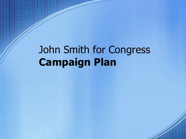 John Smith for CongressCampaign Plan<br />