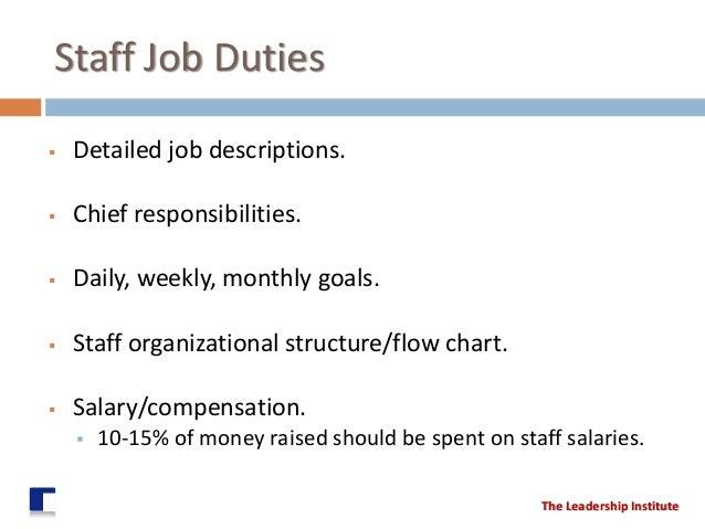 staff job duties detailed job descriptions chief responsibilities