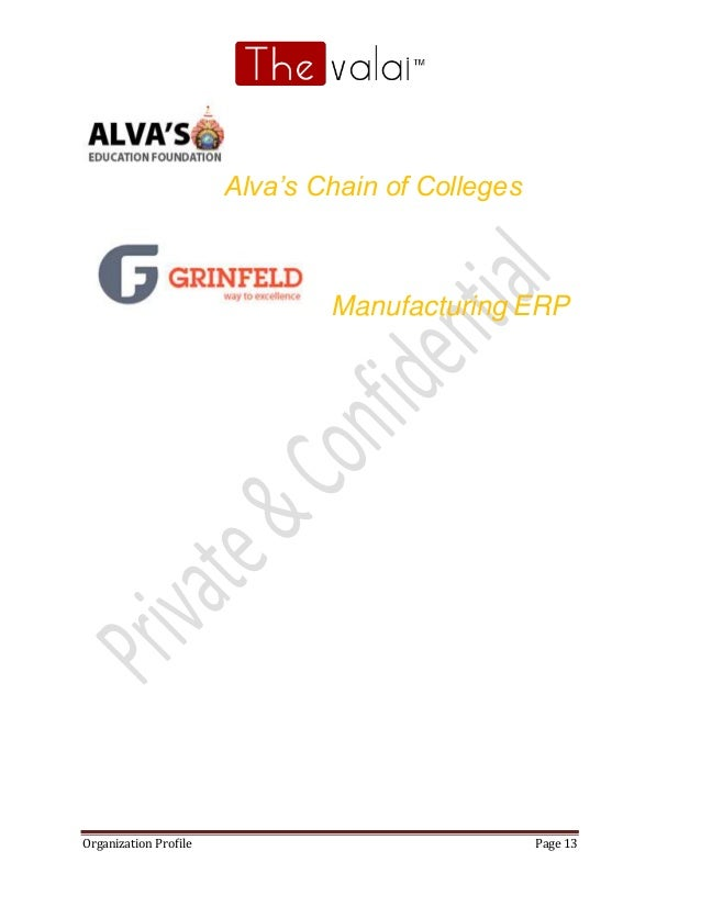 Organization Profile Page 13 Alva's Chain of Colleges Manufacturing ERP