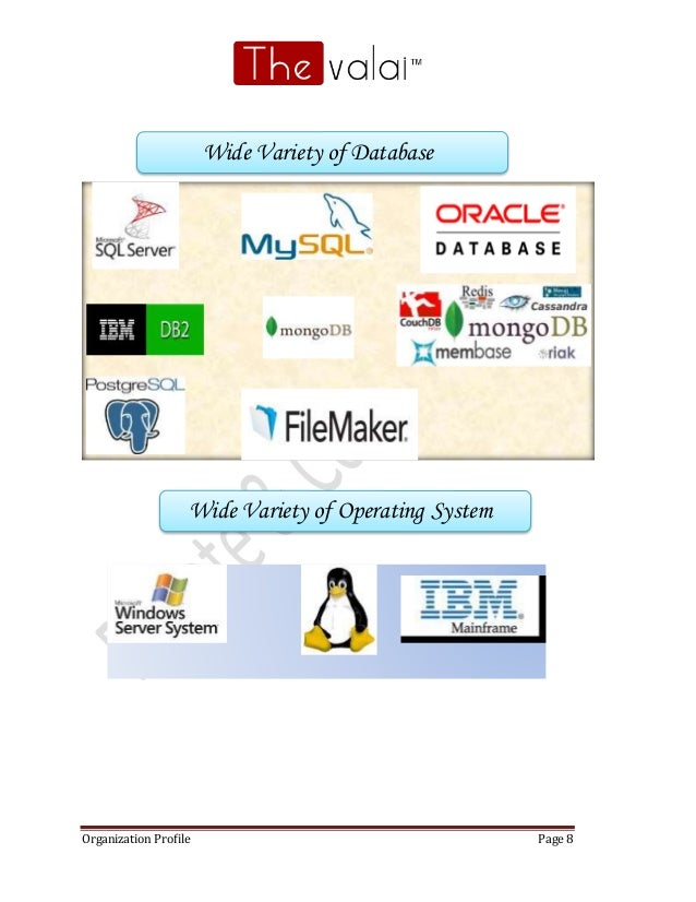 Organization Profile Page 8 Wide Variety of Database Wide Variety of Operating System