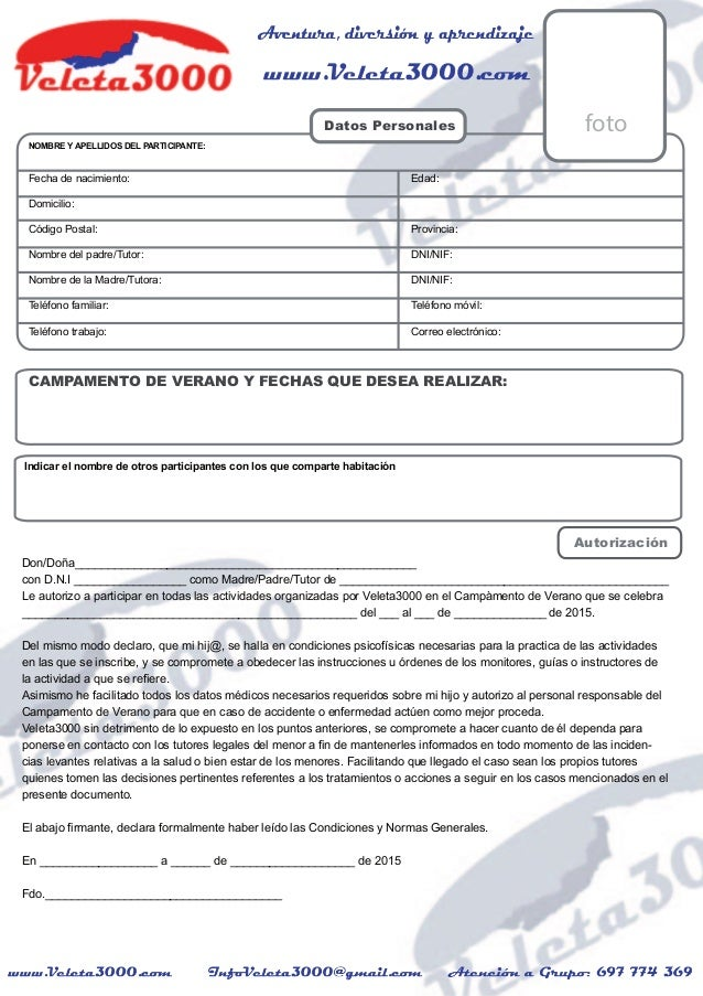 Datos Personales NOMBRE Y APELLIDOS DEL PARTICIPANTE: Fecha de nacimiento: Edad: Domicilio: Código Postal: Provincia: Nomb...