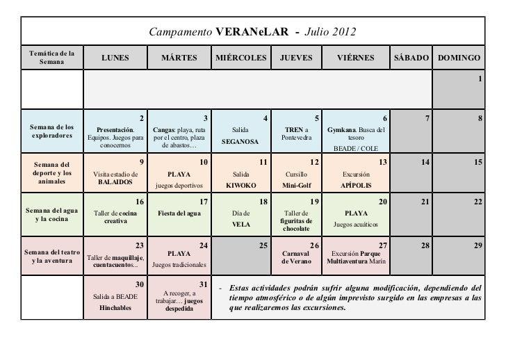 Campamento VERANeLAR - Julio 2012 Temática de la   Semana                         LUNES                   MÁRTES          ...