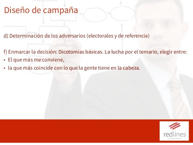 Diseño de campaña d) Determinación de los adversarios (electorales y de referencia) f) Enmarcar la decisión: Dicotomías bá...