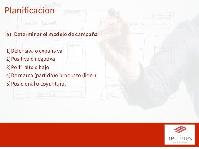 Planificación a) Determinar el modelo de campaña 1)Defensiva o expansiva 2)Positiva o negativa 3)Perfil alto o bajo 4)De m...