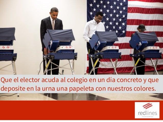 Que el elector acuda al colegio en un día concreto y que deposite en la urna una papeleta con nuestros colores.