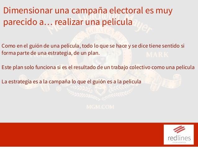 Dimensionar una campaña electoral es muy parecido a… realizar una película Como en el guión de una película, todo lo que s...