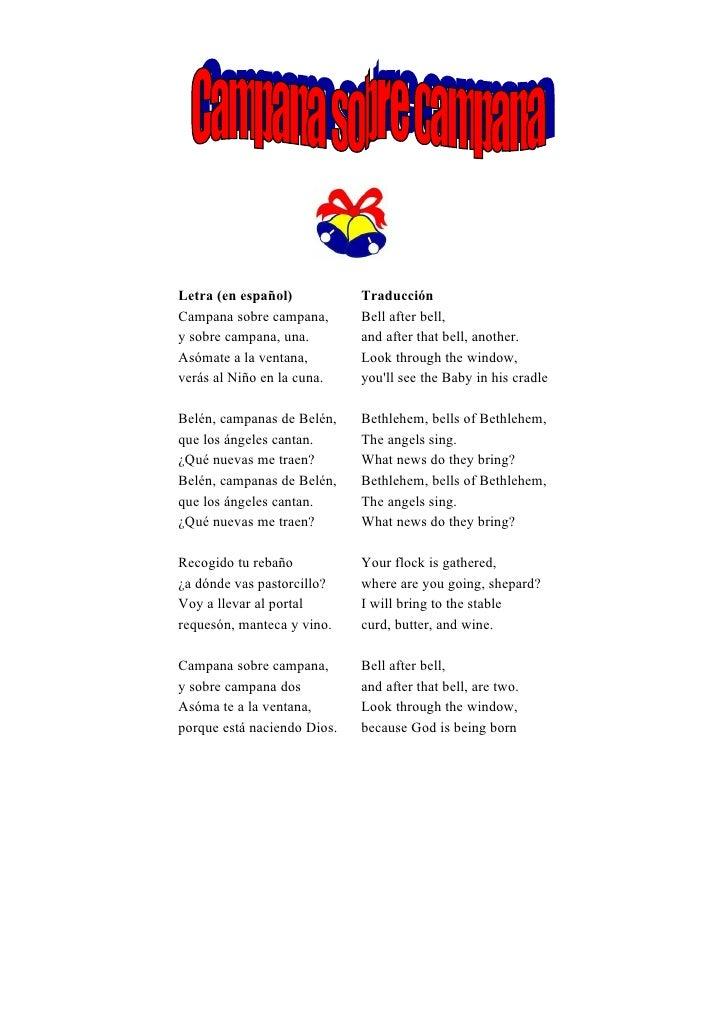 Letra (en español)           TraducciónCampana sobre campana,       Bell after bell,y sobre campana, una.        and after...