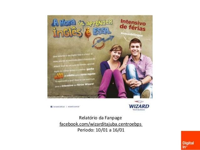 Relatório da Fanpage facebook.com/wizarditajuba.centroebps Período: 10/01 a 16/01