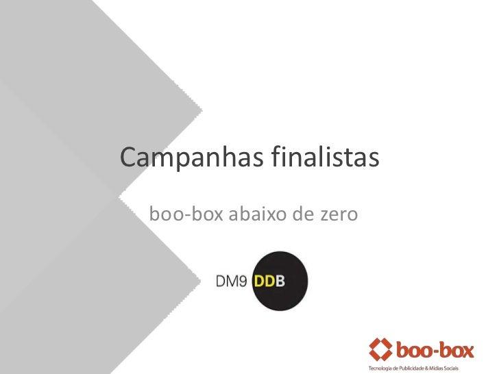 Campanhasfinalistas<br />boo-box abaixo de zero<br />