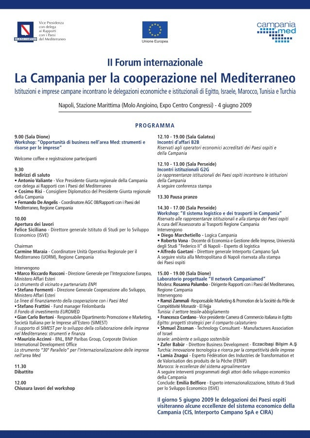 CampaniaMed (Regione Campania) _  Forum internazionale 'La Campania per la cooperazione nel Mediterraneo' II edizione (Nap...