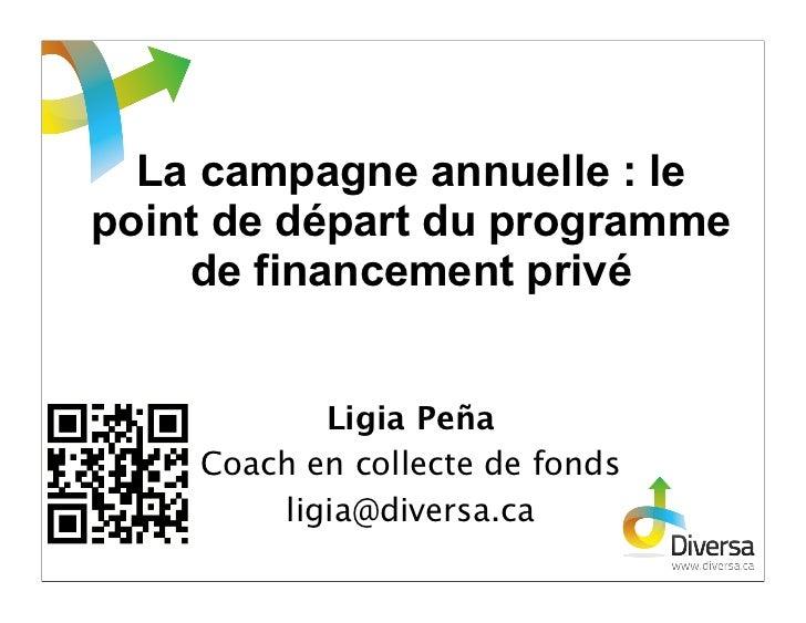 La campagne annuelle : lepoint de départ du programme    de financement privé           Ligia Peña    Coach en collecte de...