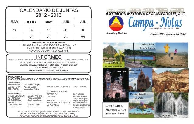 CALENDARIO DE JUNTAS 22001122 - 2013 HACIENDA DE SANTA ROSA UBICADA EN: BAHIA DE TODOS SANTOS No 106, EN LA COLONIA VERONI...