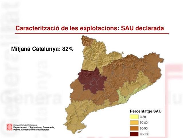 Caracterització de les explotacions: SAU declaradaMitjana Catalunya: 82%