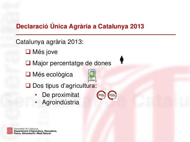 Declaració Única Agrària a Catalunya 2013Catalunya agrària 2013: Més jove Major percentatge de dones Més ecològica Dos...
