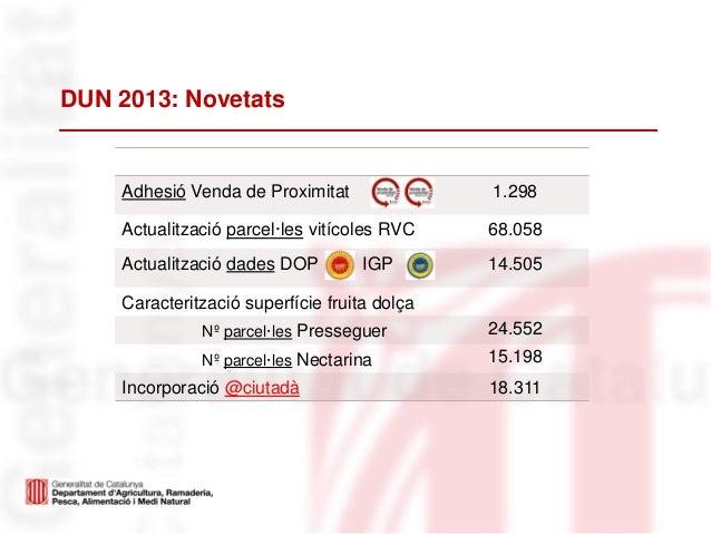 DUN 2013: NovetatsAdhesió Venda de Proximitat 1.298Actualització parcel·les vitícoles RVC 68.058Actualització dades DOP IG...