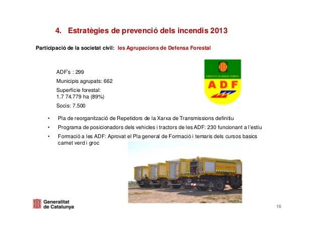 Participació de la societat civil: les Agrupacions de Defensa Forestal4. Estratègies de prevenció dels incendis 2013ADF's ...